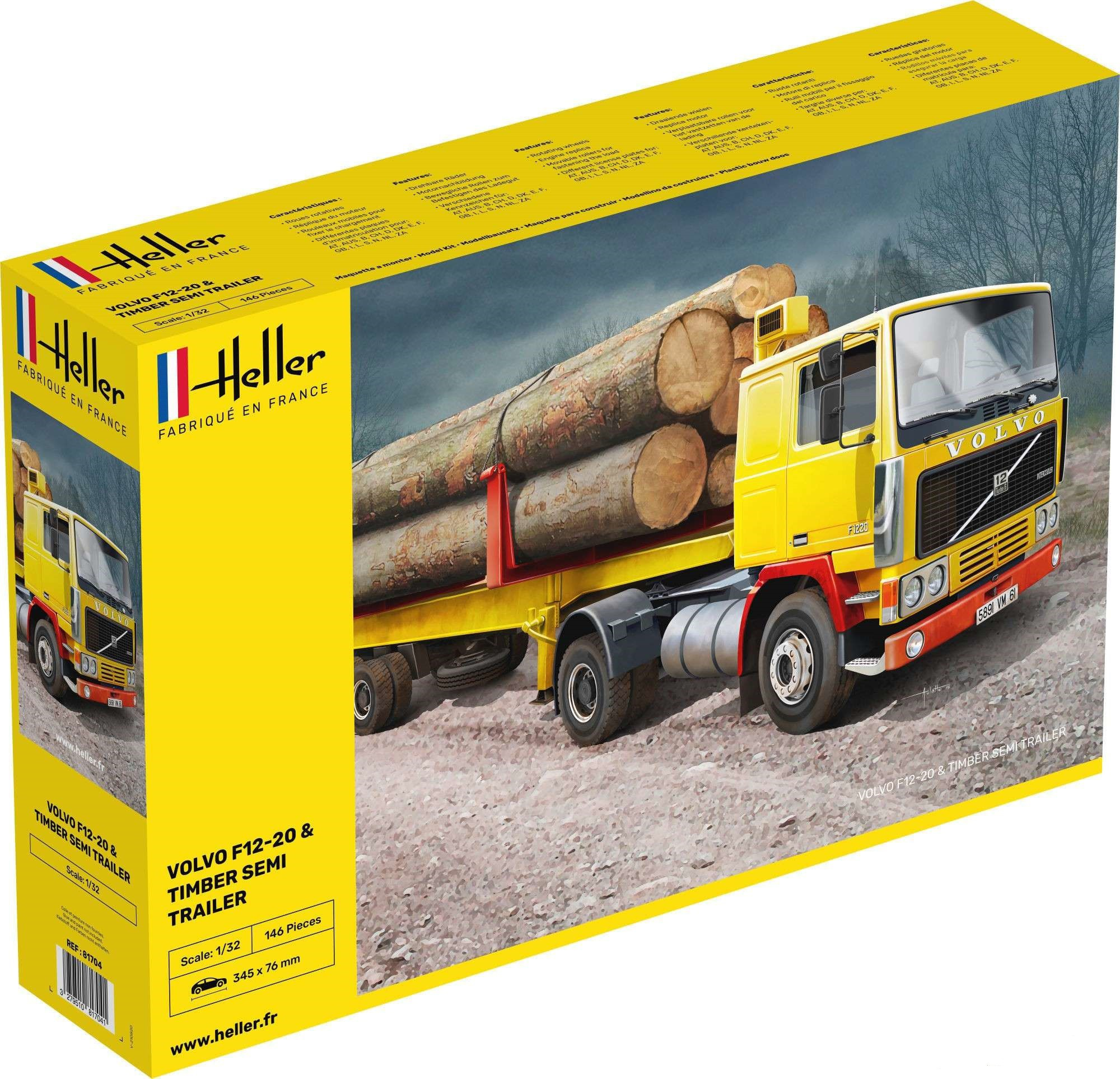 Heller Volvo F12-20 Globetrotter + Bosbouw Trailer