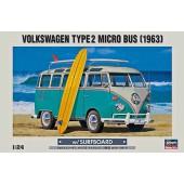 Hasegawa Volkswagen Type 2 Microbus 1963 met Surfplank